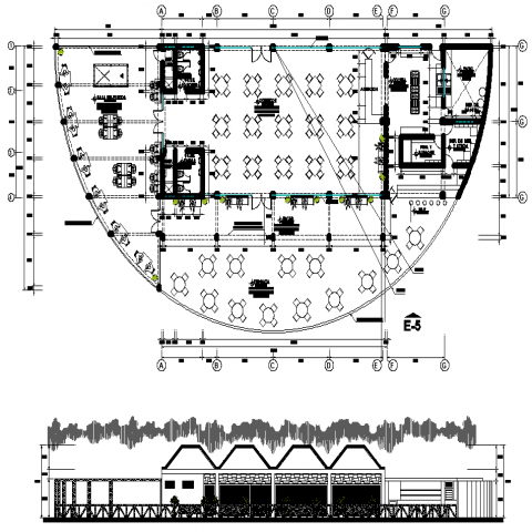 The cafeteria plan with a detailed dwg file.