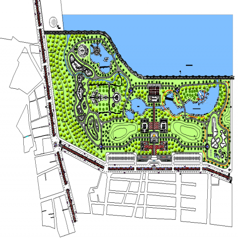 The town plan with a detailing dwg file.
