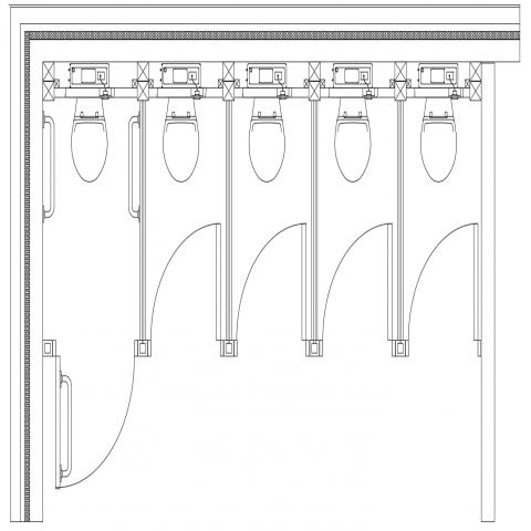 Toilet cubicle arrangement of plan dwg file
