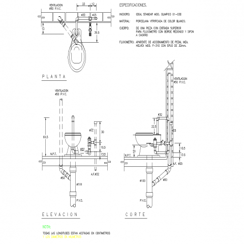 Toilet with pedal air flow meter plan layout file