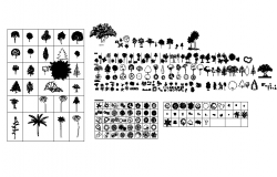 vegetables trees cad block