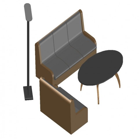 Waiting area 3d furniture block details of bank office dwg file