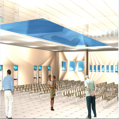 Waiting area with general hall of hospital 3d design dwg file