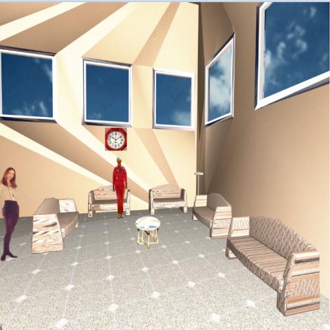 Waiting room interior design of hospital dwg file