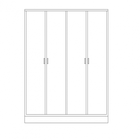 Wardrobe simple view with furniture view dwg file