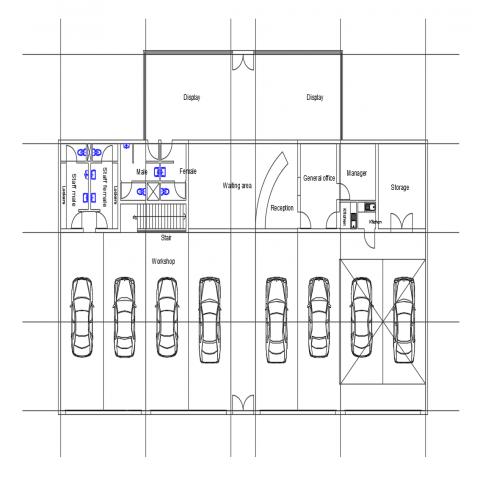 Wheel tires shop architecture layout plan details dwg file