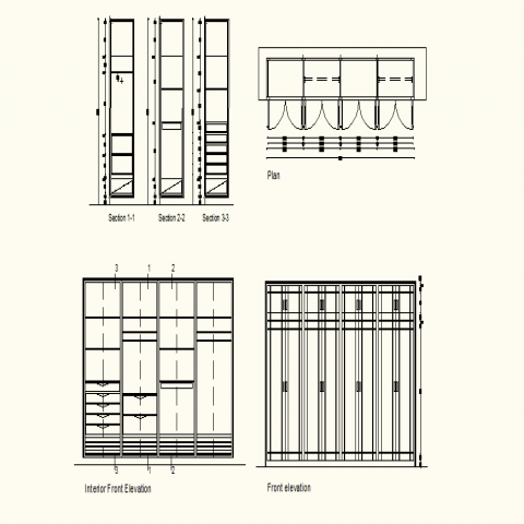 Wine Rack Shelving detail elevation layout file