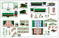 wood frame school building with wooden joint structure view dwg file