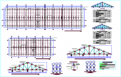 wooden trusses structure view with detail and part list dwg file