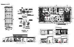 working plan of Guest house 25mtr x 9.50mtr with different section and elevation in dwg file