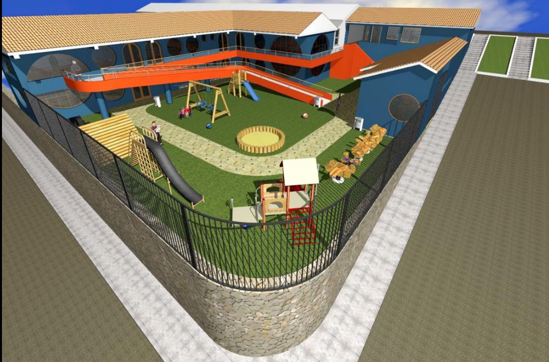 3d view of children play school building.