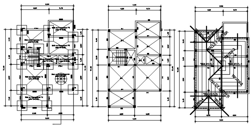 Autocad drawing of residential bungalow layout