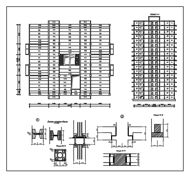 Exterior elevation of  Residential building with construction details  dwg file