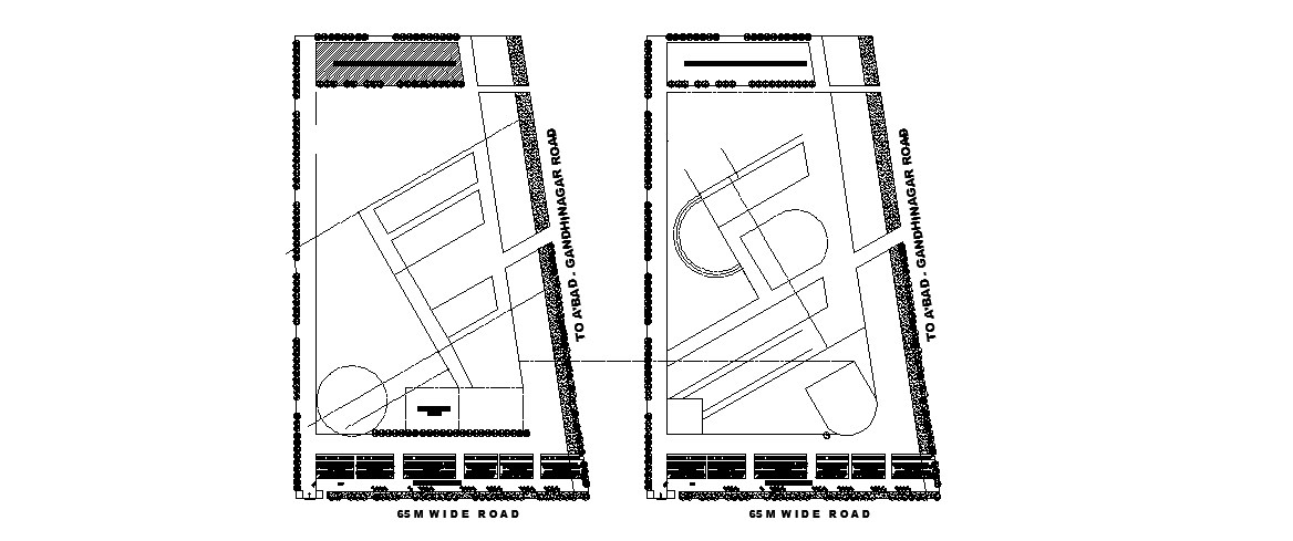 Hostel accommodation and guest room distribution and site plan details for college building dwg file