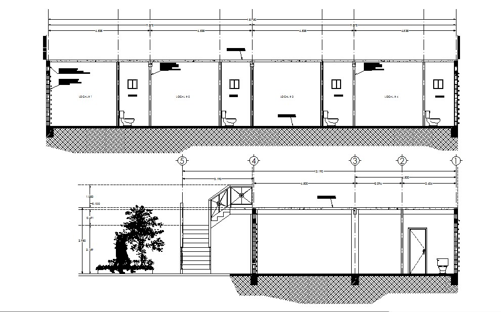 Sections of the retail store in dwg file