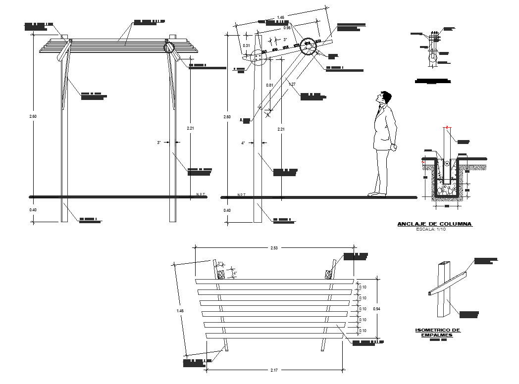 Shade structure detail view dwg file