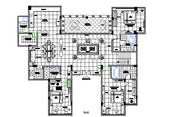 Top view architectural layout plan of a house dwg file