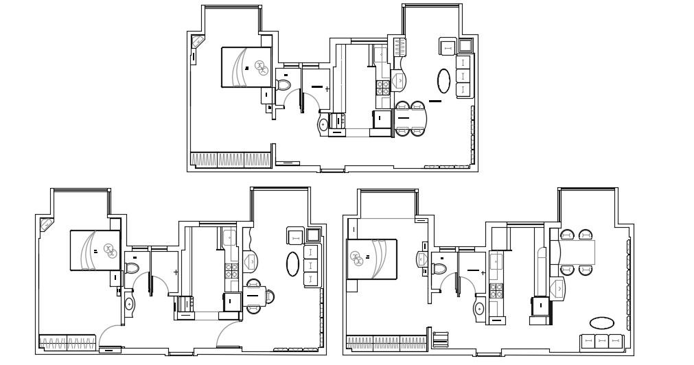 1 BHK Modern Bungalow Design Furniture Layout Plan