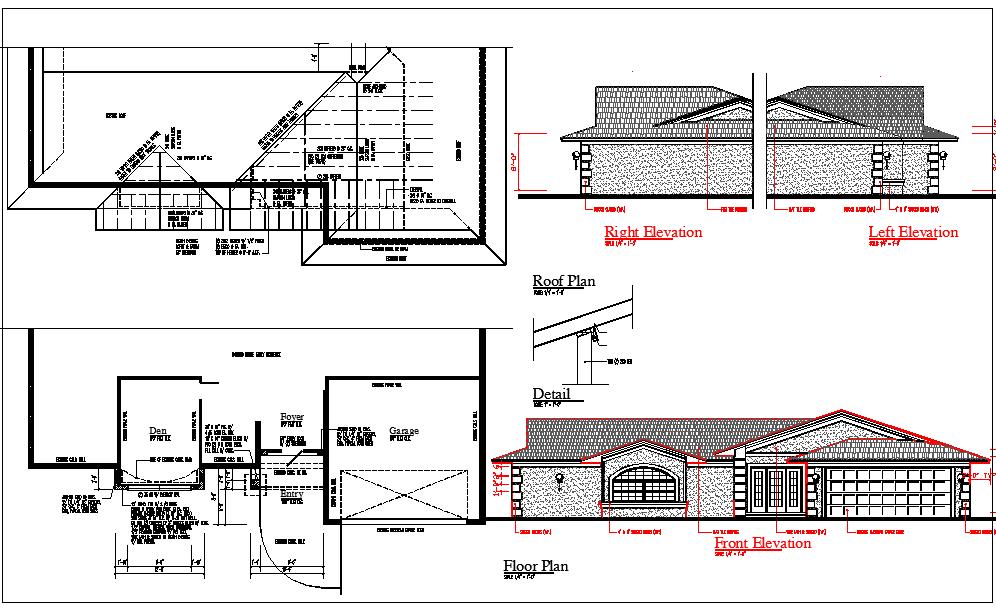 1 Level Roman House Construction plan