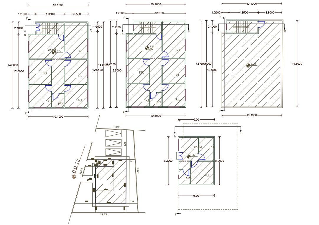 10 X 14 Meter 3  Bedroom  House  Plan  AutoCAD  File  Cadbull