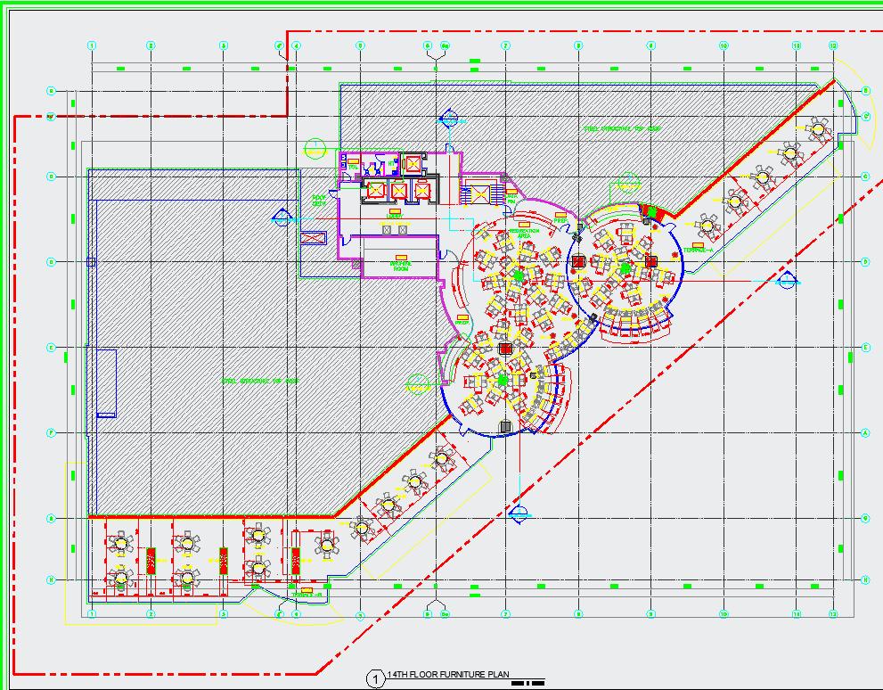 14th floor Furniture plan dwg file