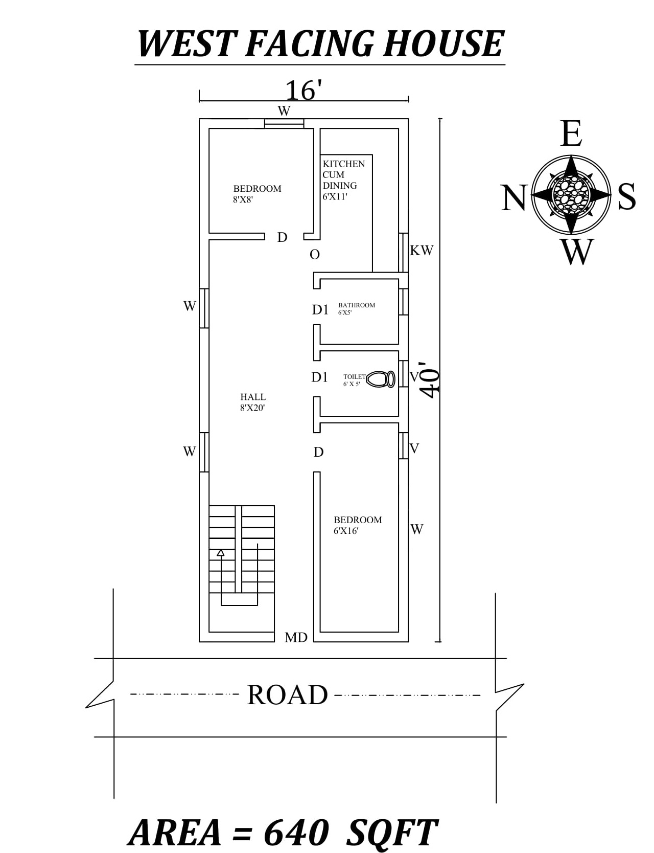 16 x40 640 sqft 2bhk west facing house plan as per