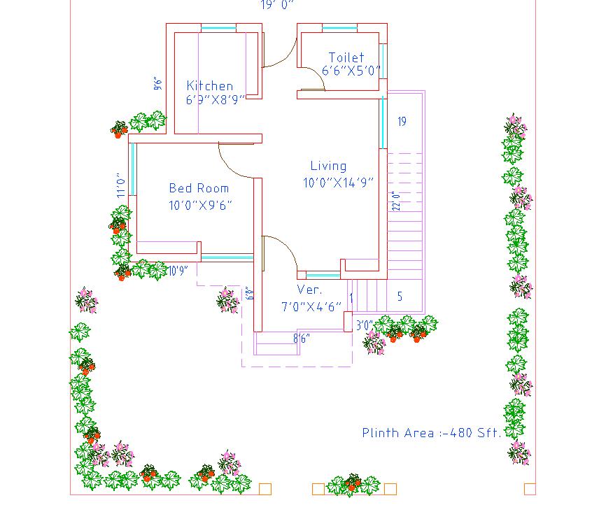 1bhk house plan dwg file
