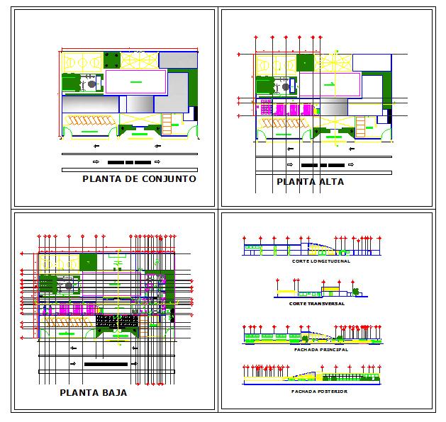 School Elevation & plan