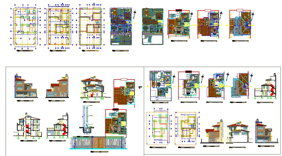 Triplex house plans DWG