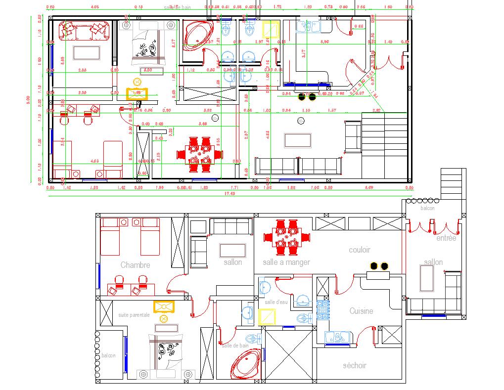 2 Story House Layout plan autocad file