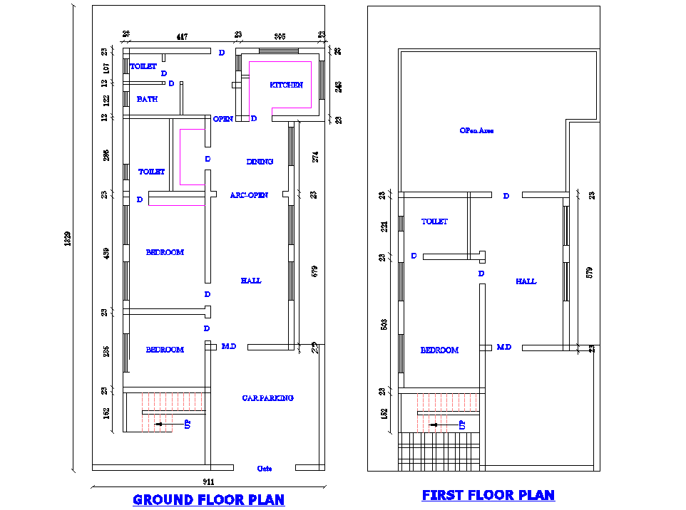 2 Story House layout plan