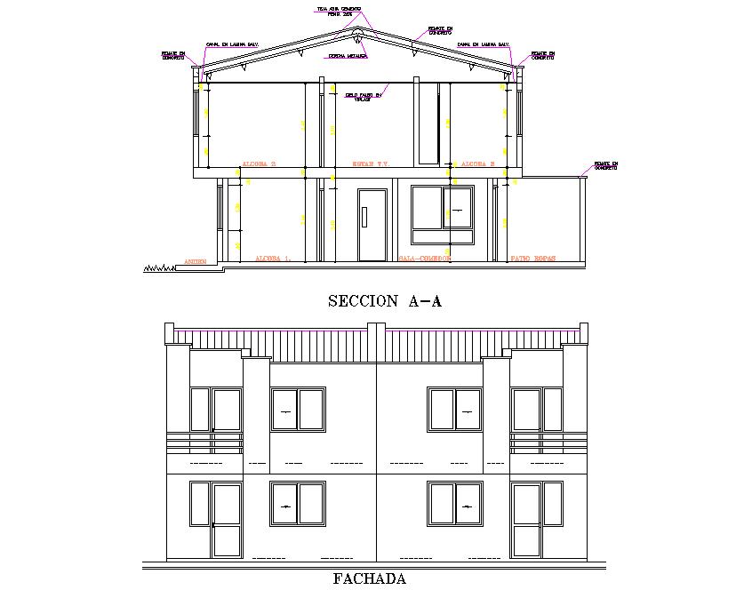 2 houses duplex apartments detail dwg file