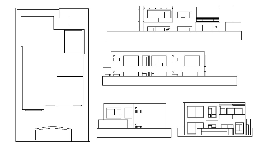 2 storey building with elevation in AutoCAD