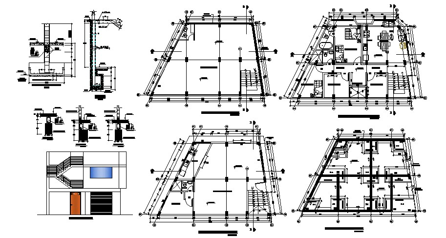 2 storey house 13.88mtr x 10.14mtr with elevation in AutoCAD