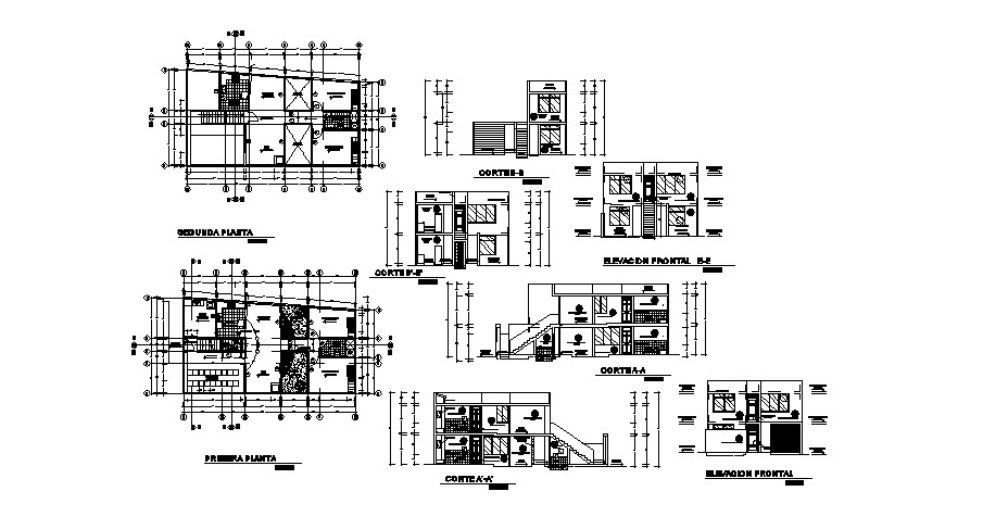 2 storey house with section and elevation in dwg file