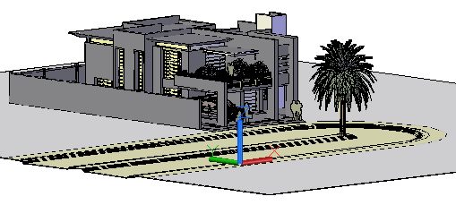 3 d drawing of bunglow elevation design