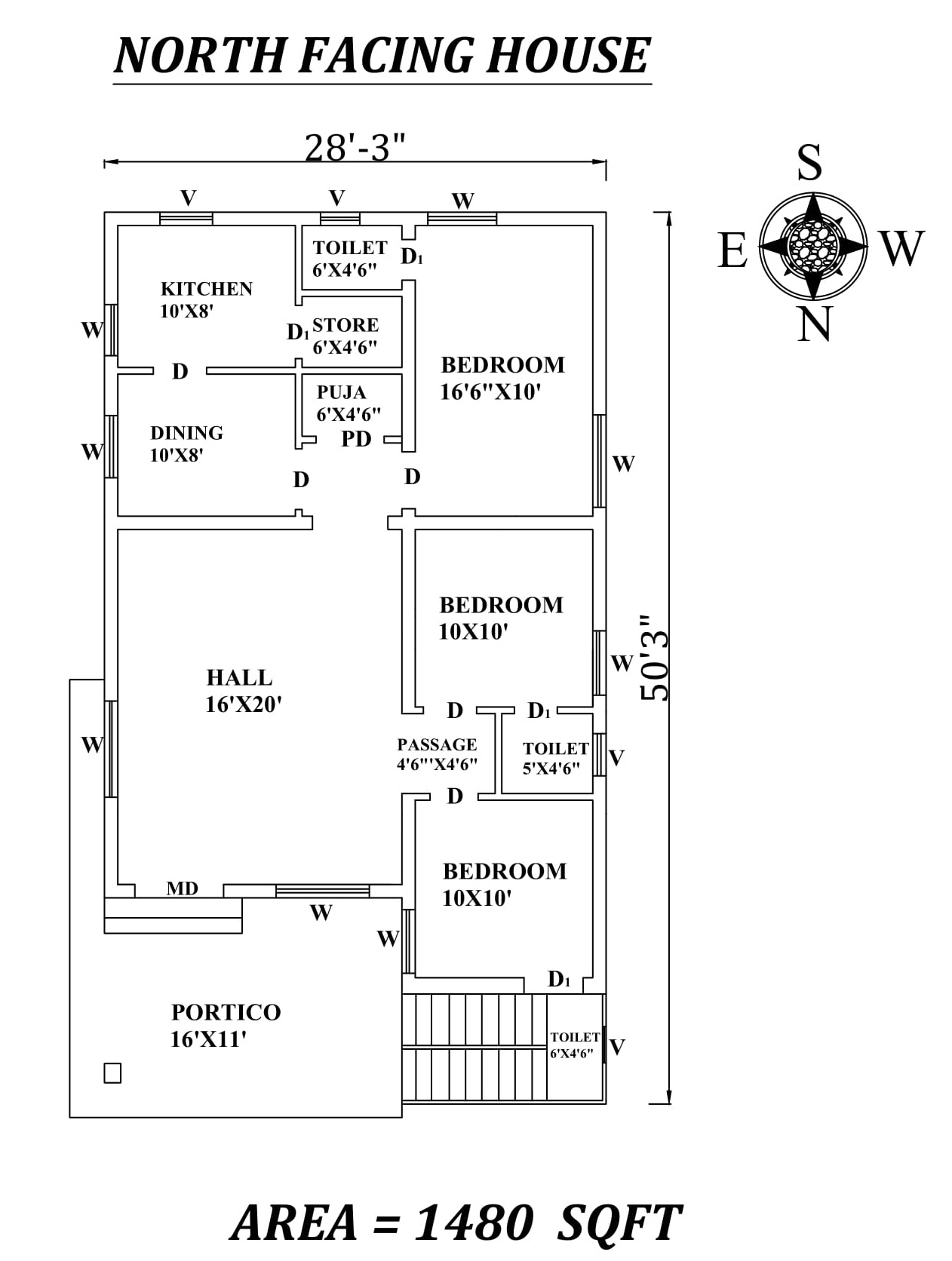 28 x50 marvelous 3bhk north facing house plan as per