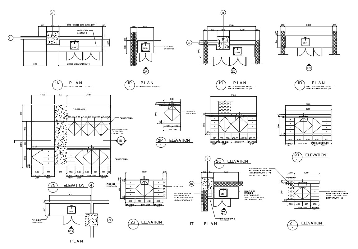 2d Elevation Kitchen Cabinet With Sink Drawings Autocad File