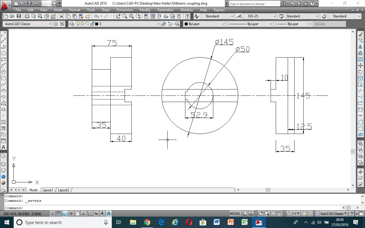 2D autocad drawing of Oldhams coupling