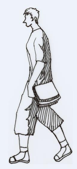 2D block of walking man design drawing