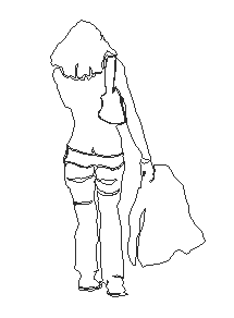 2D design drawing of miss walking