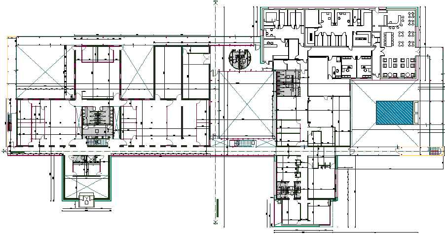 2D layout plan of a big office dwg file