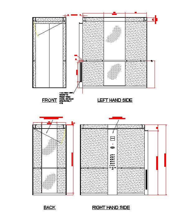 2D Lift car elevations dwg