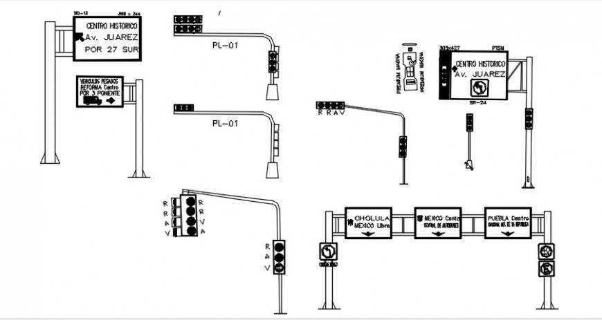 2 d cad drawing of traffic signal point auto cad software