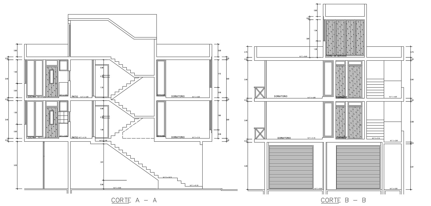 2d CAD sectional drawing of housing apartment dwg file
