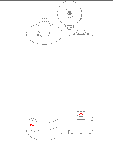 2d block elevation of water heater dwg file
