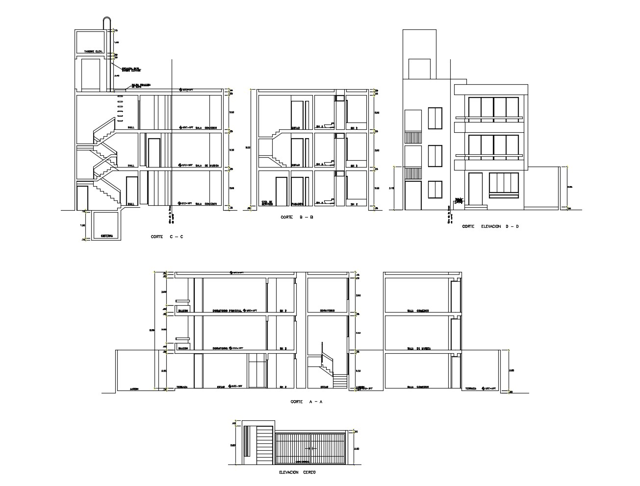 2d drawing of Apartment with elevation and section in dwg file