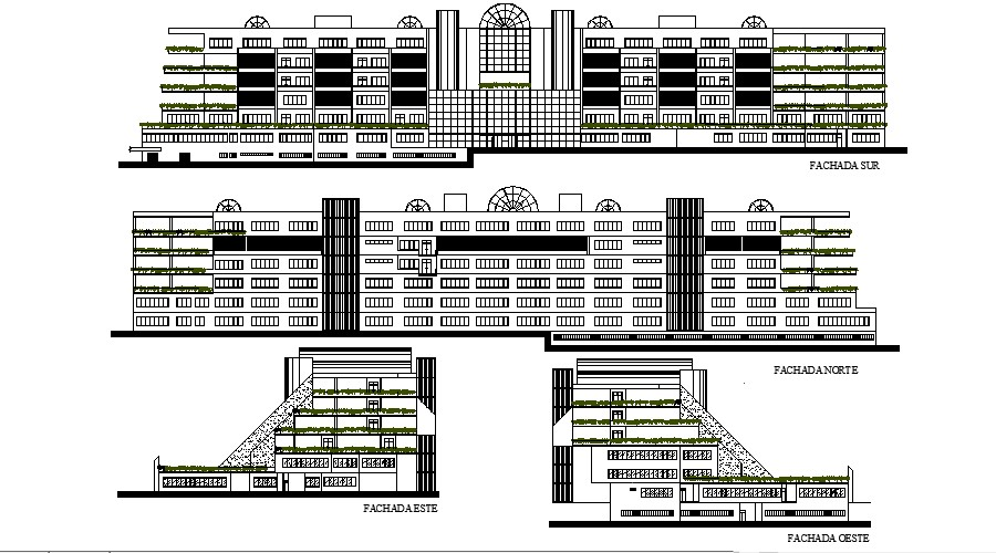 2d drawing of a multi storey building with elevation in dwg file