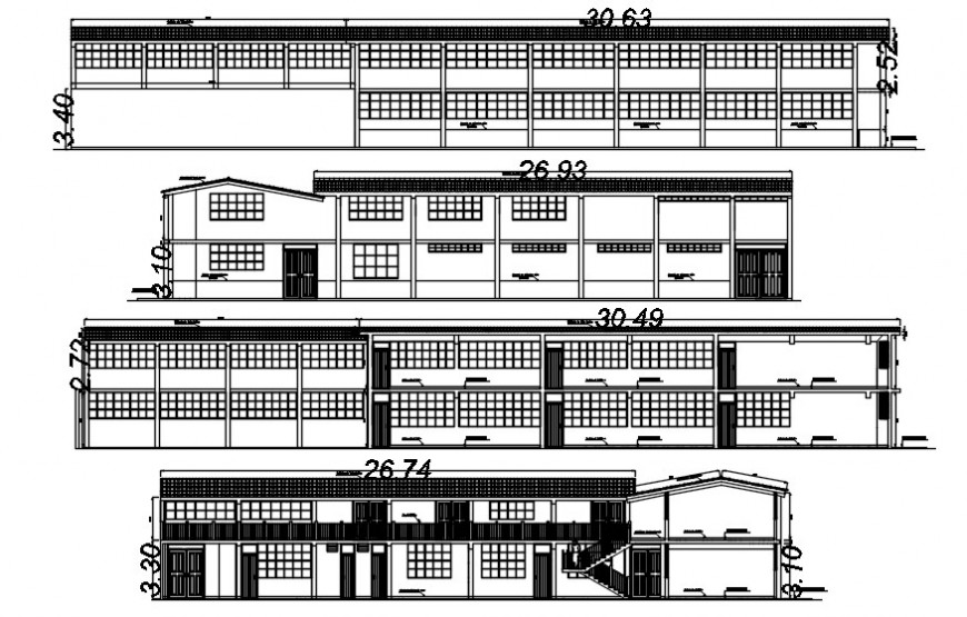 2d cad drawing of exterior elevation draw autocad software