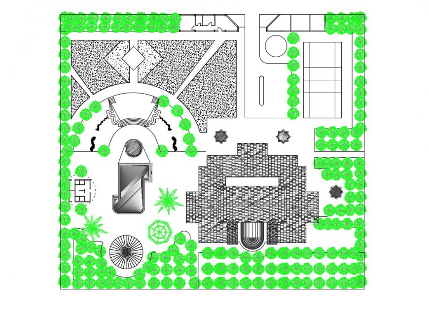 2d cad drawing of garden top elevation autocad software ...